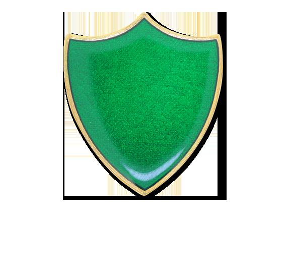 Green plain shield enamelled shield badge badges plus ltd - Chemise coin plastique transparent ...