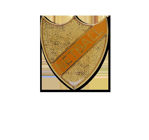 Netball Small Enamelled Stripe Shield Badge