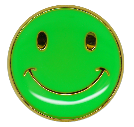 Neon Happy Face Round Badge Gold Plated