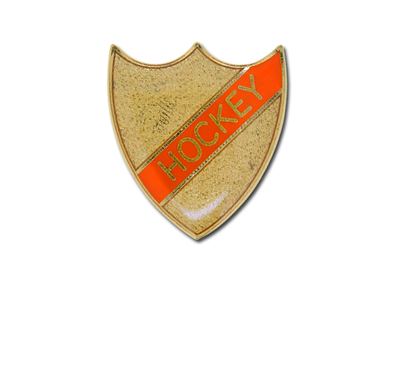 Hockey Small Enamelled Stripe Shield Badge