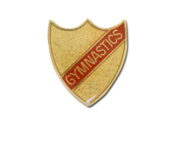 Gymnastics Small Enamelled Stripe Shield Badge