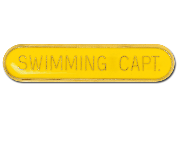 Swimming Capt Rounded Edge Bar Badge