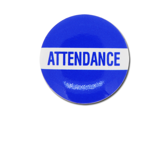 Attendance Plastic Button Badge