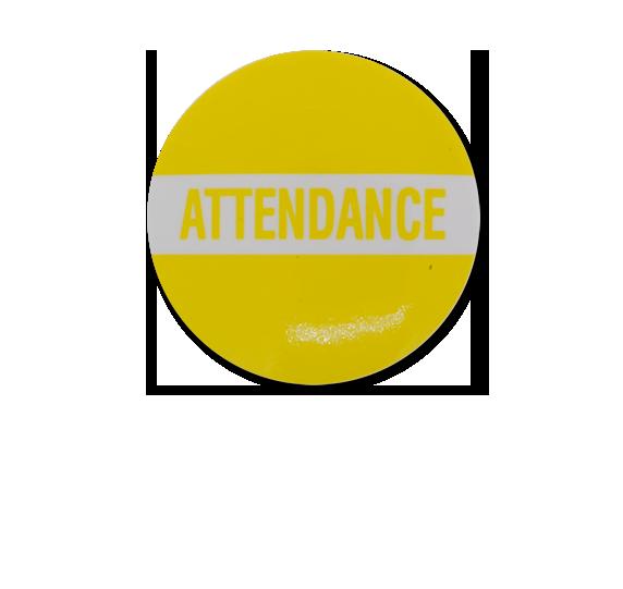 Attendance Plastic Button Badge