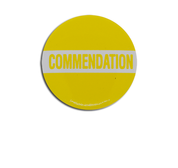 Commendation Plastic Button Badge