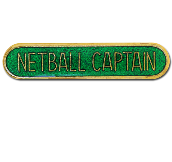 Netball Captain Rounded Edge Bar Badge