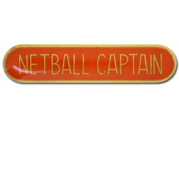 Netball Captain Rounded Edge Bar Badge