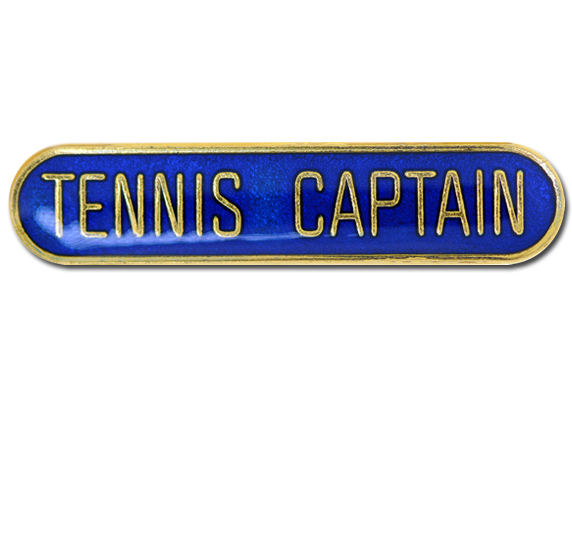 Tennis Captain Rounded Edge Bar Badge