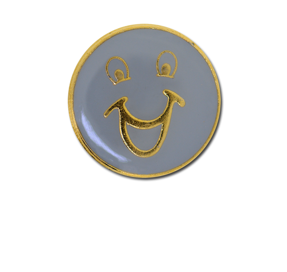 Happy Face Round Badge Gold Plated