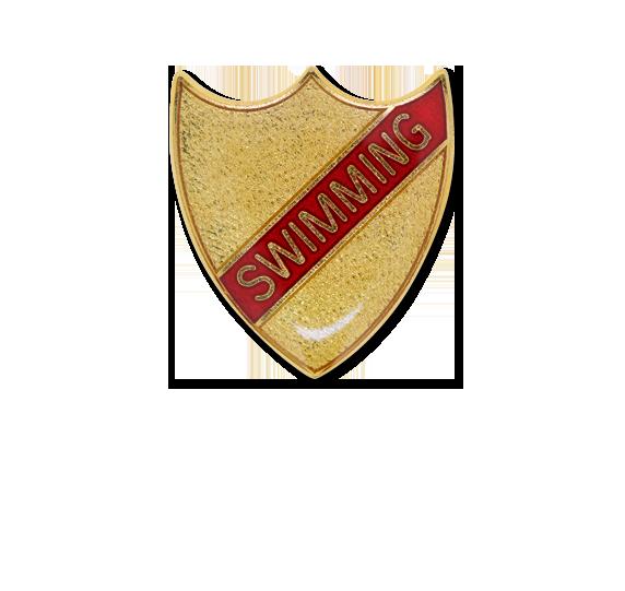 Swimming Small Enamelled Stripe Shield Badge