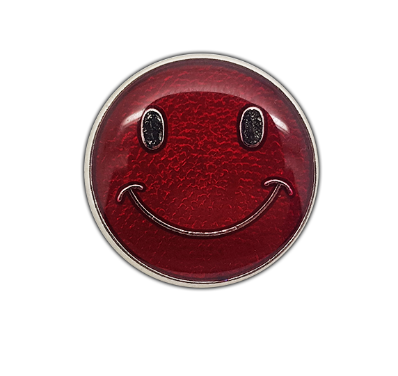 Happy Face Round Badge Silver Plated