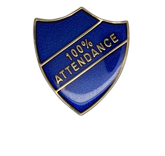 100% Attendance Shield Badge
