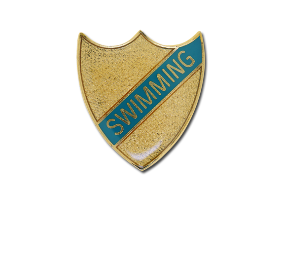 Swimming Small Enamelled Stripe Shield Badge