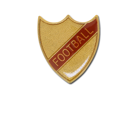 Football Small Enamelled Stripe Shield Badge