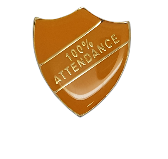 100% Attendance Shield Badge